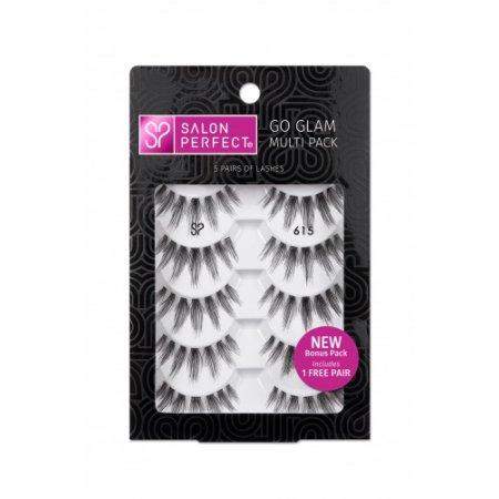 Salon Perfect Go Glam Multi Pack Lash #615, 5 Pairs and Salon Perfect Multi Pack Lash 614, Black, 5 Pairs