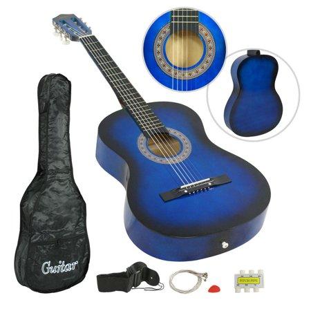 """Zeny 38"""" Blue Acoustic Guitar Beginner Gigbag Strap Tuner Kids Musical Gift"""