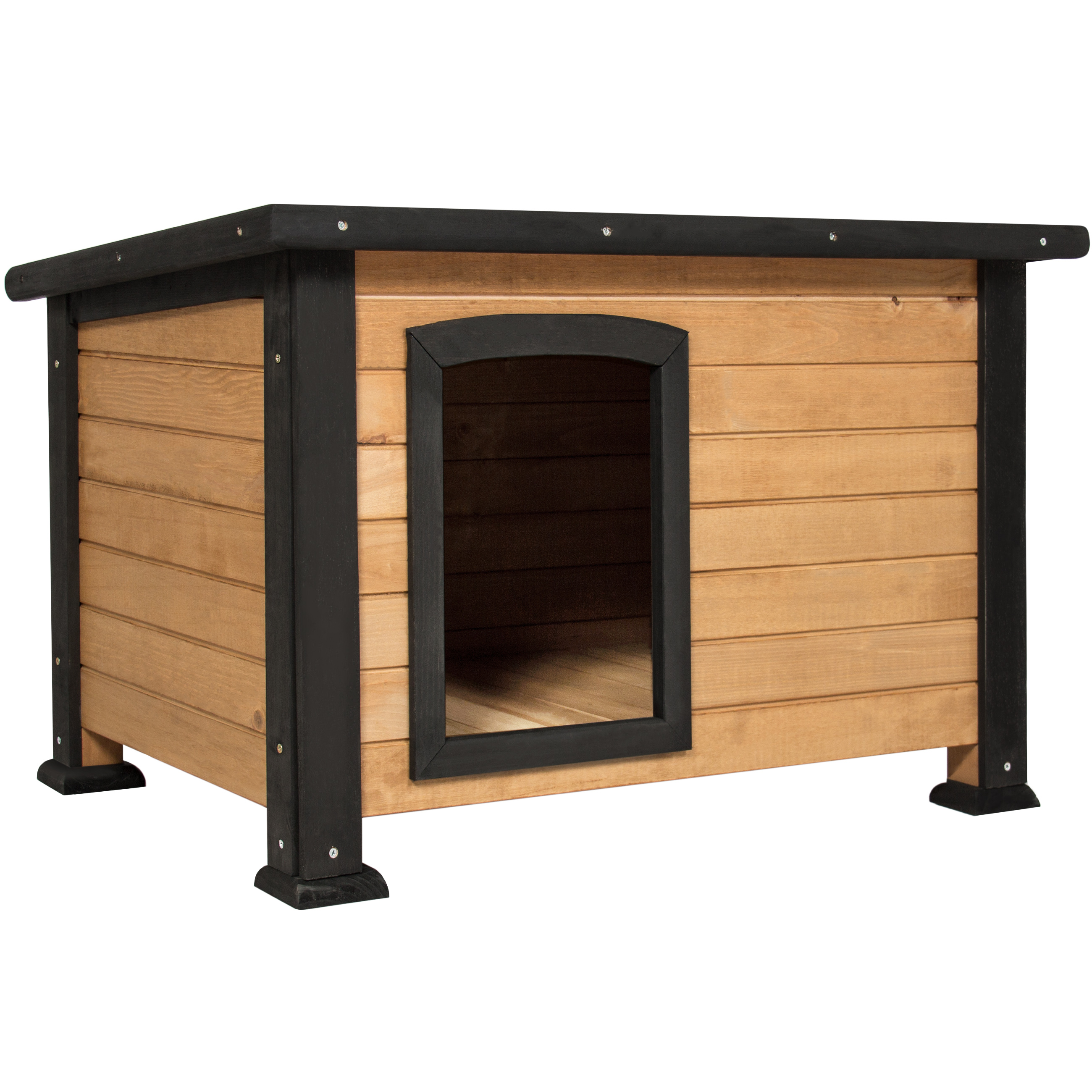 Best Choice Products Wooden Log Cabin Dog House w/ Opening Roof for Small Dogs, Outdoor Kennel, Pet Shelter -Brown