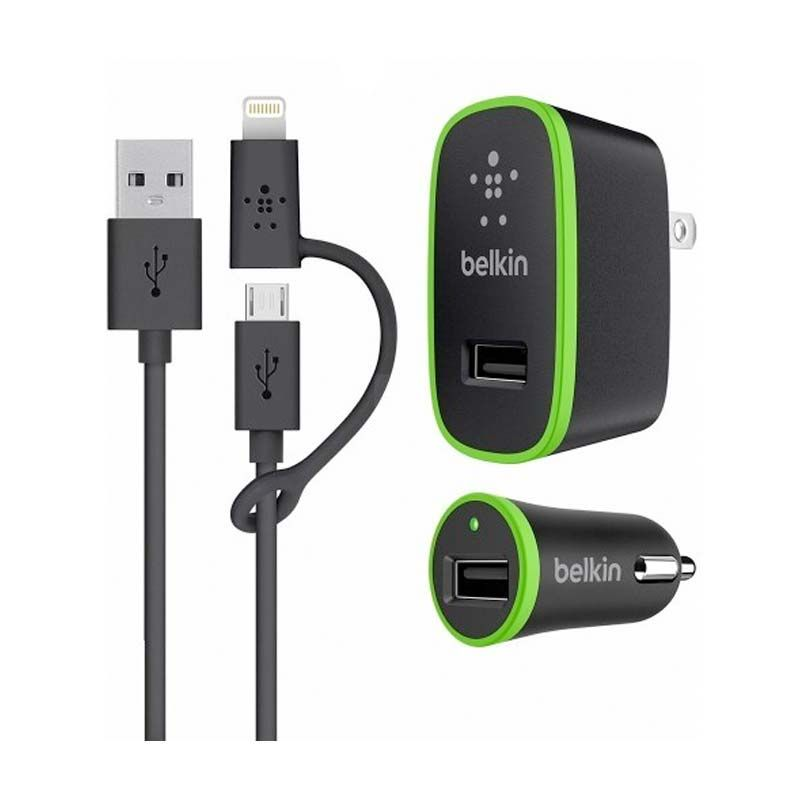 Belkin - Charger Kit Cable Micro USB 3 0 and Lightning connector with home and car charger