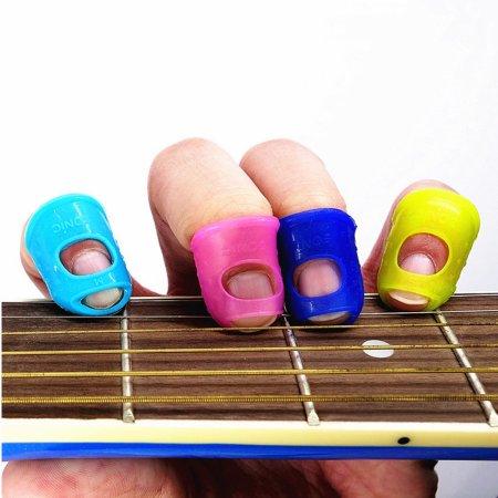 4Pcs Silicone Guitar Thumb Finger Picks Protector Fingertip Plectrum For Guitar Ukulele Colors Random