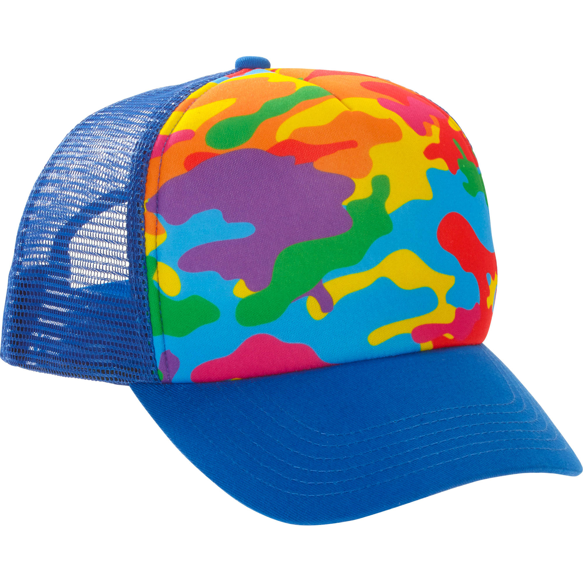 multi-colored trucker hat