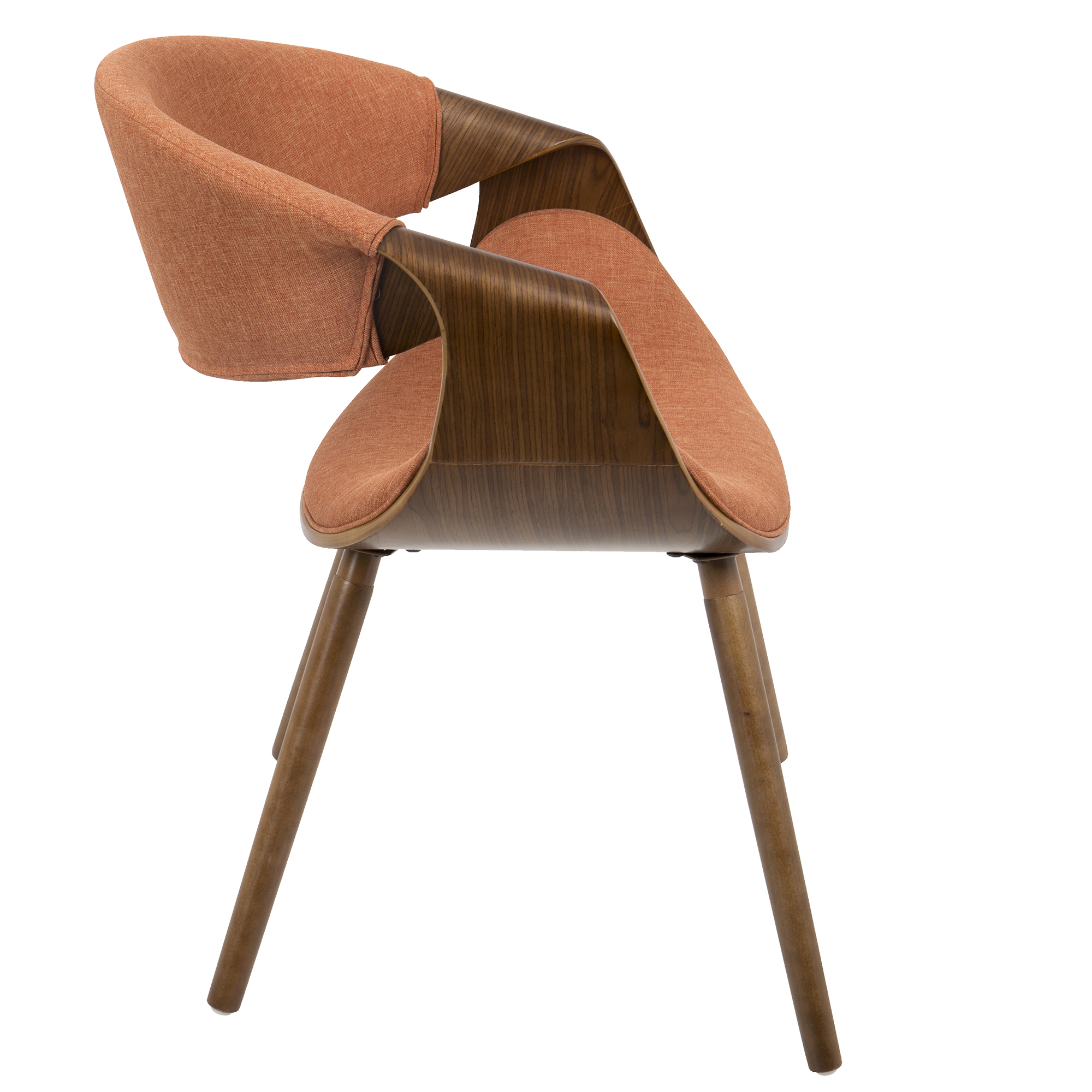 Curvo Mid-Century Modern Dining/Accent Chair in Walnut and Orange Fabric by LumiSource