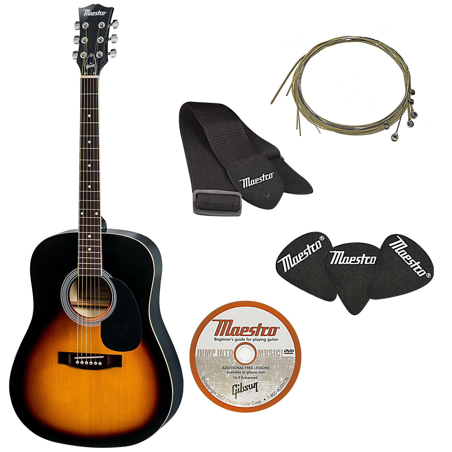 The Maestro by Gibson Full Size Acoustic Guitar Pack, Vintage Sunburst