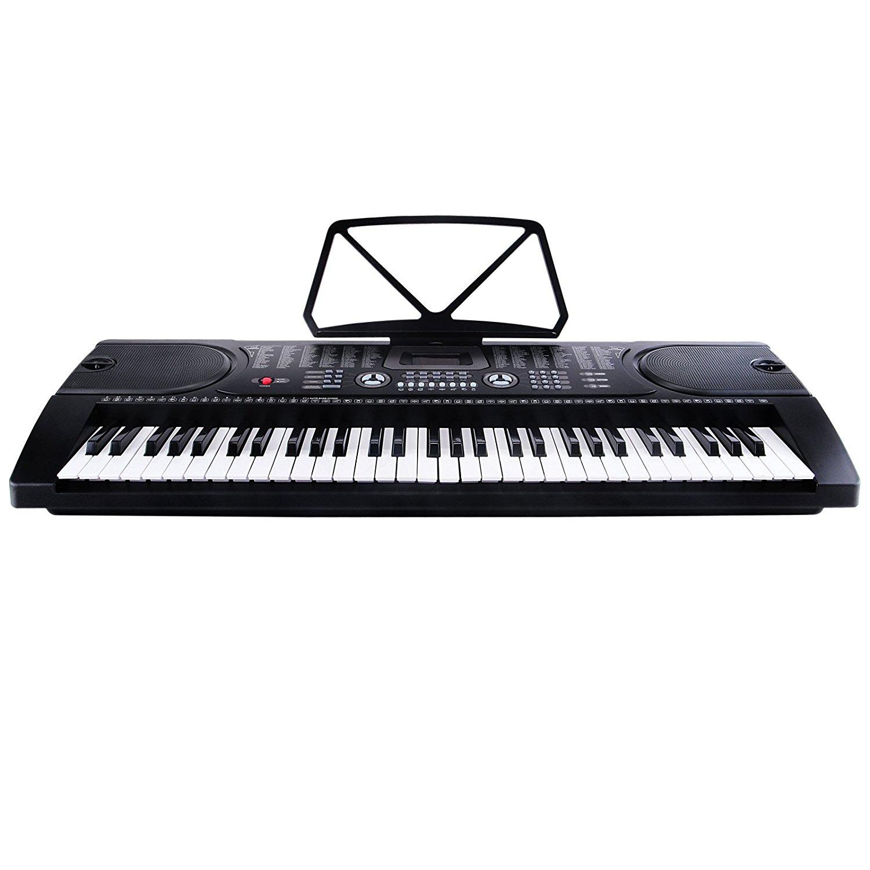 Uenjoy 61 Key Music Electronic Keyboard Electric Digital Piano Organ w/Power Supply /Microphone ,Black