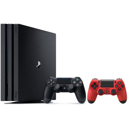 Sony PlayStation 4 Pro 1TB Console and Dualshock Wireless Controllers Bundle, Black & Red