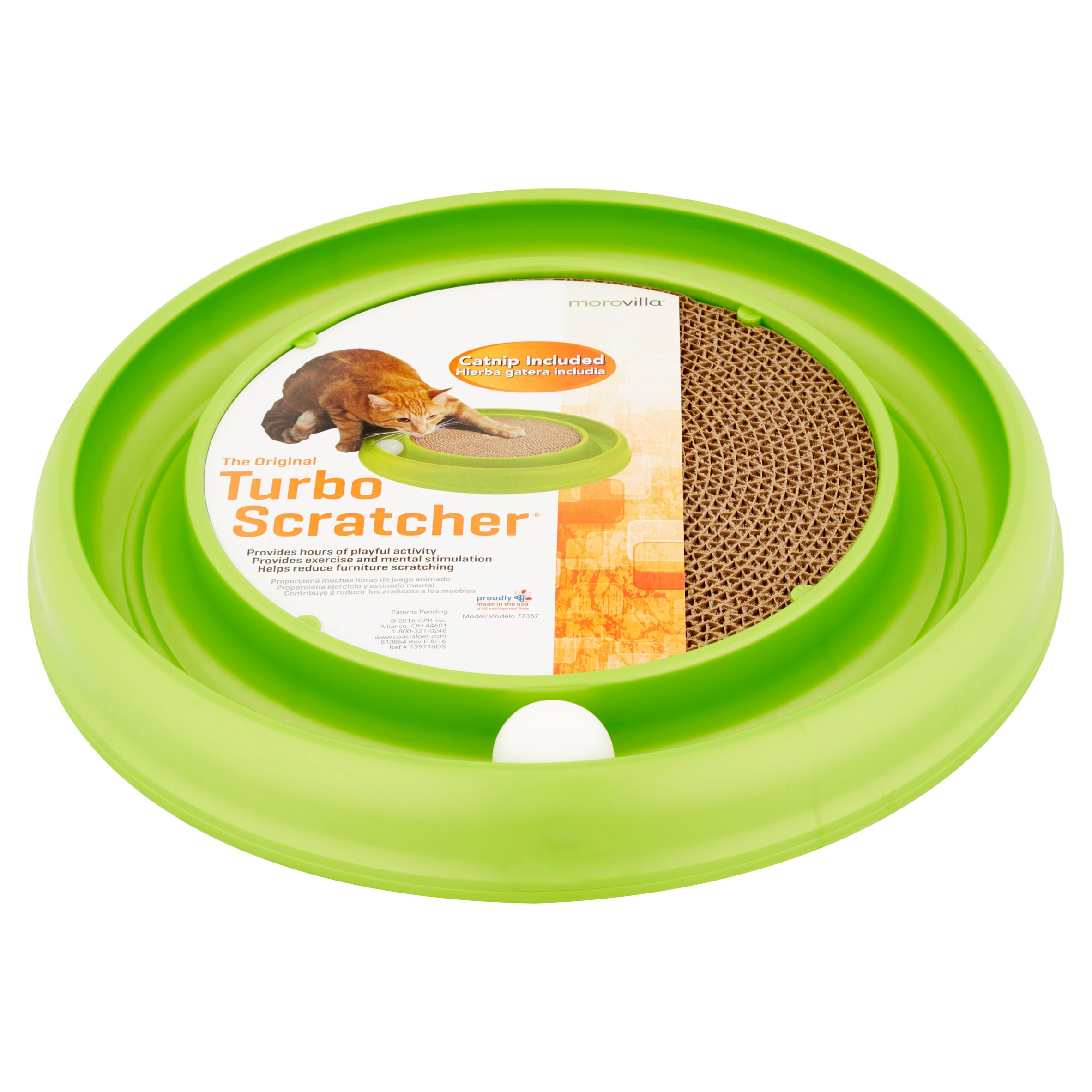 Morovilla Turbo Scratcher, Interactive Cat Toy And Scratcher, Color may vary