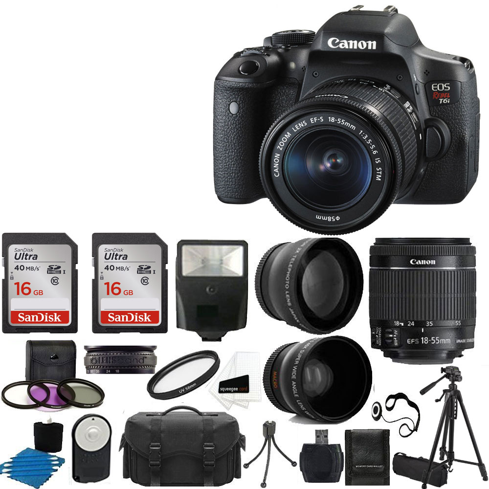 Canon T6 EOS Rebel DSLR Camera with EF-S 18-55mm IS II Lens Deluxe Bundle