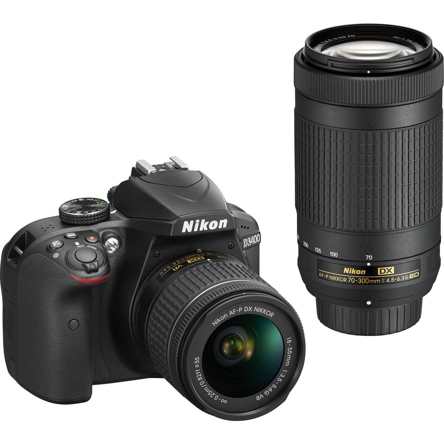 Nikon D3400 Digital SLR Camera with 24.2 Megapixels and 18-55mm and 70-300mm Lenses Included