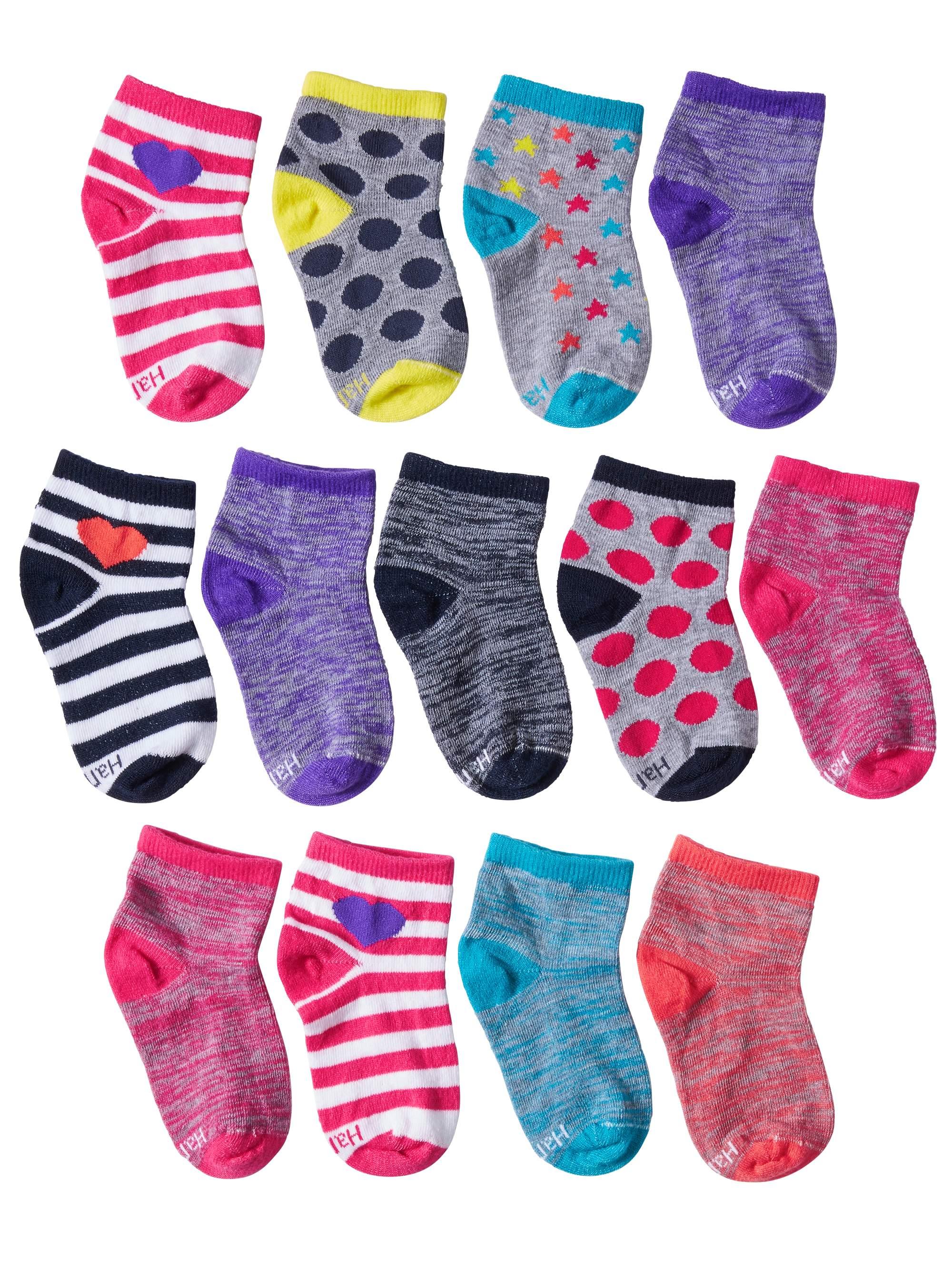 Hanes Lightweight Ankle Socks, 10 + 3 Bonus Pack (Little Girls & Big Girls)