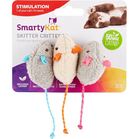 SmartyKat® Skitter Critters™ Mice, Set of 3 Catnip Cat Toys