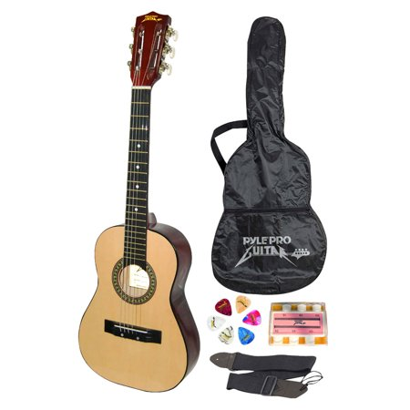 Pyle PGAKT30 - Beginners 6-String Acoustic Guitar, Includes Accessory Kit