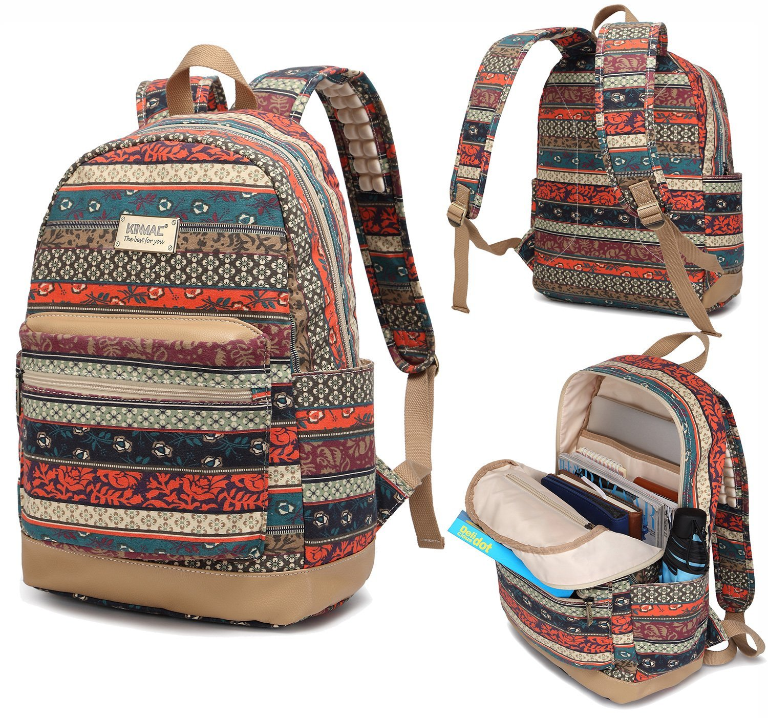 Kinmac Bohemian Water Resistant Laptop Backpack with Massage Cushion Straps for Laptop up to 15.6-Inch
