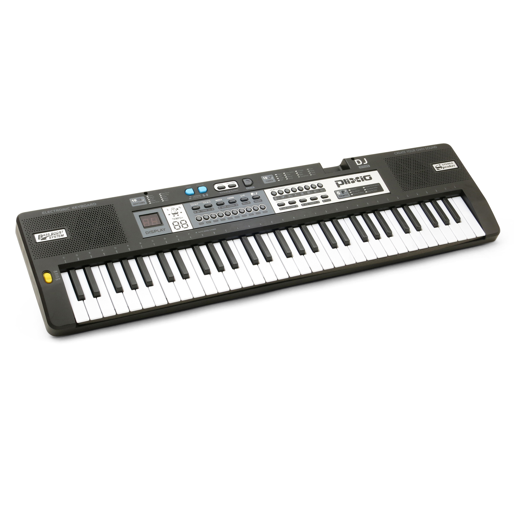 Plixio 61 Key Mid-Size Electric Piano Keyboard with Electronic Music Lesson Mode & Adapter