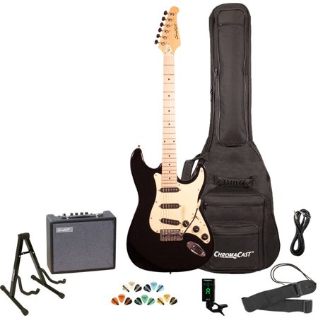 Sawtooth ES Series ST Style Electric Guitar Kit with Sawtooth 10 Watt Amp and ChromaCast Accessories, Black with Black Pickguard
