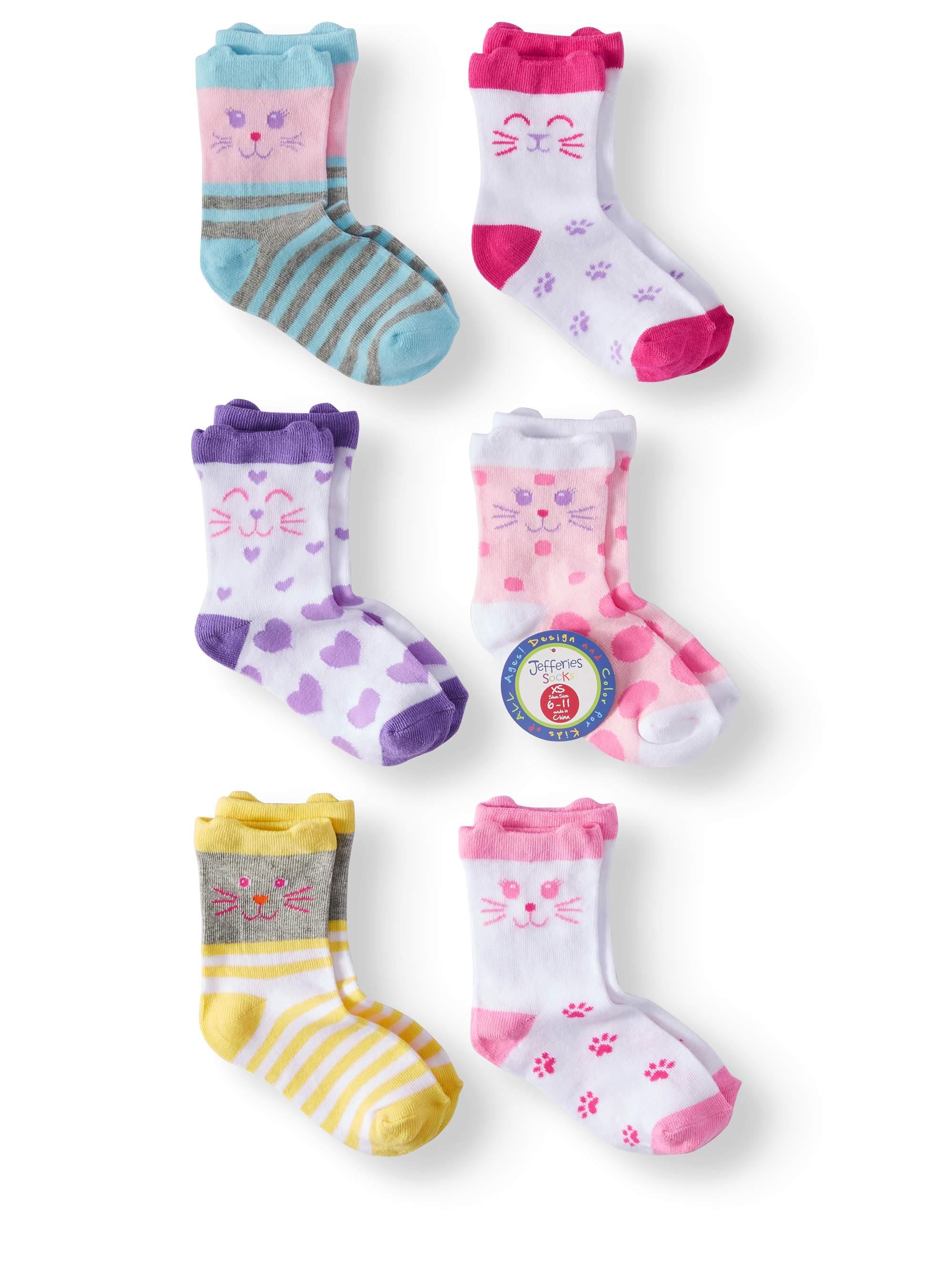 Jefferies Socks Cat Crew Socks, 6 Pairs (Little Girls & Big Girls)