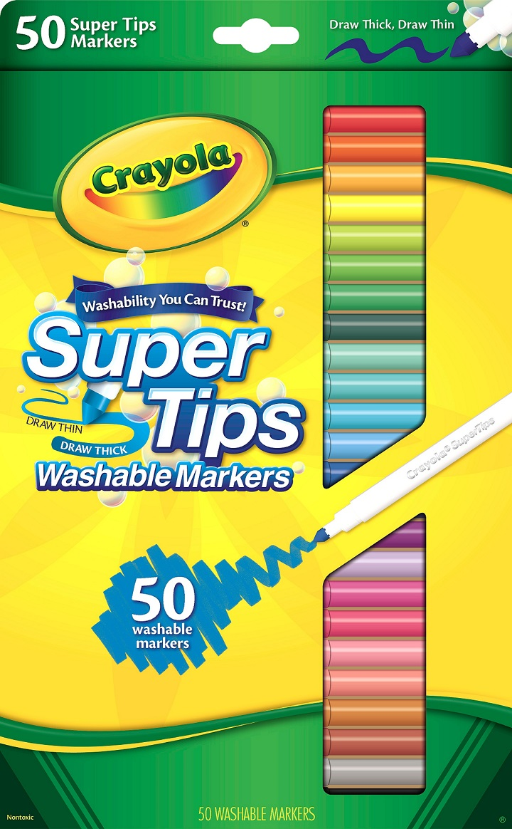 Crayola Super Tips Fine Line Washable Markers, 50 Count