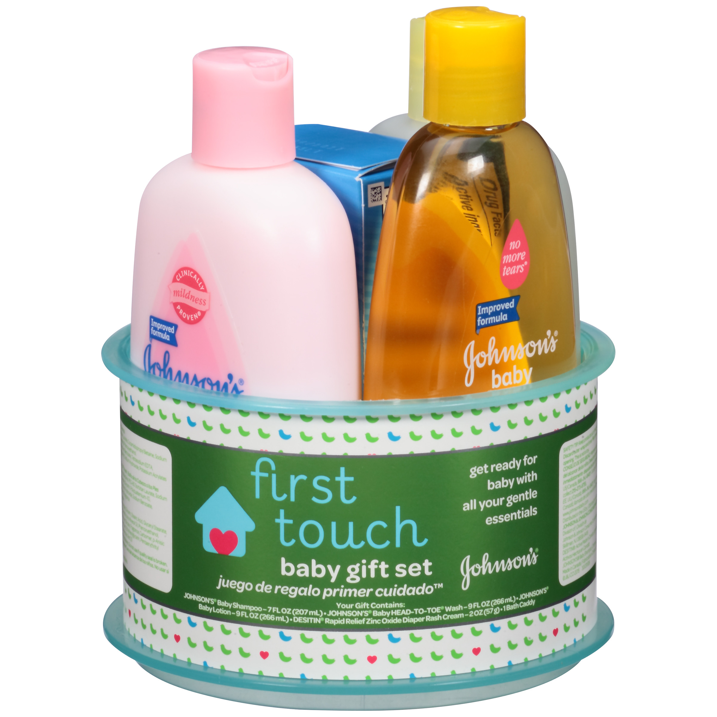 JOHNSON'S First Touch Gift Set, Baby Bath And Baby Skin Care Products, 4 Items