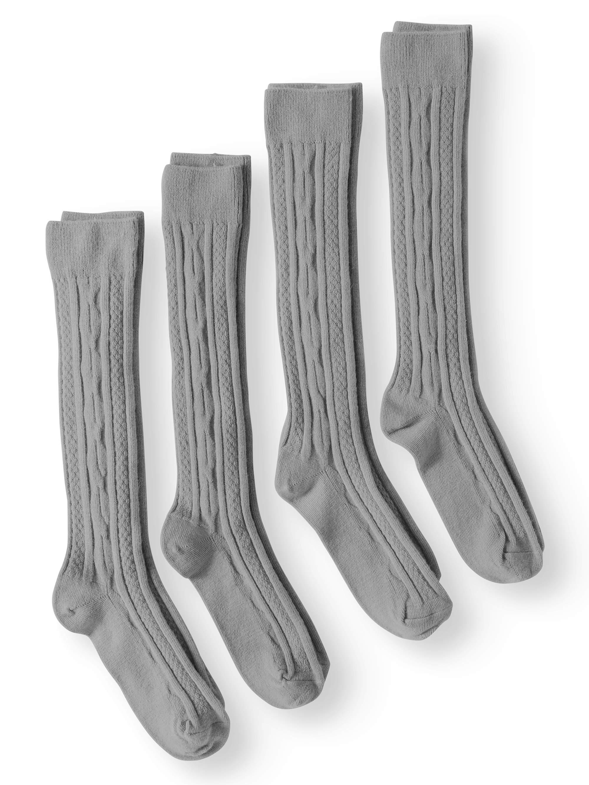 JEFFERIES SOCKS School Uniform Acrylic Cable Knit Knee High Socks, 4 Pairs